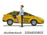 taxi driver.vector illustration ... | Shutterstock .eps vector #1006830805