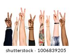 variation hands with peace sign | Shutterstock . vector #1006839205