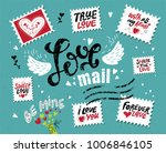 set love mail  hand drawn... | Shutterstock .eps vector #1006846105