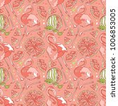 flamingo and watermelon.... | Shutterstock .eps vector #1006853005