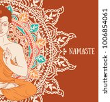 buddha in meditation on...   Shutterstock .eps vector #1006854061