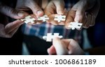 hands of business people... | Shutterstock . vector #1006861189