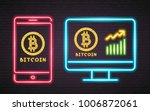bitcoin cryptocurrency neon... | Shutterstock .eps vector #1006872061