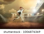 baseball player in dynamic... | Shutterstock . vector #1006876369