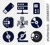 disk icons. set of 9 editable... | Shutterstock .eps vector #1006885357