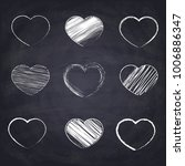 chalk drawn heart. geometric... | Shutterstock .eps vector #1006886347