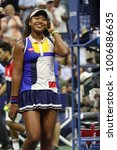 Small photo of NEW YORK - AUGUST 29, 2017: Professional tennis player Naomi Osaka of Japan celebrates victory after her US Open 2017 first round match at Billie Jean King National Tennis Center