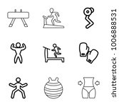 gym icons. set of 9 editable... | Shutterstock .eps vector #1006888531