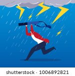 businessman running in the storm | Shutterstock .eps vector #1006892821