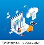 isometric digital information...   Shutterstock .eps vector #1006892824