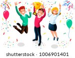 win achievement. happy company... | Shutterstock .eps vector #1006901401