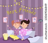 two girls in pajamas making... | Shutterstock .eps vector #1006906849