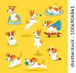 cute jack russell terrier set ... | Shutterstock .eps vector #1006906861