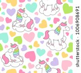cute pastel unicorn and heart... | Shutterstock .eps vector #1006908691