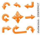 orange 3d arrows. different... | Shutterstock .eps vector #1006909417