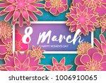 pink 8 march. gold purple happy ... | Shutterstock .eps vector #1006910065