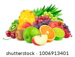 heap of different fruits and... | Shutterstock . vector #1006913401