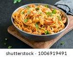 spaghetti pasta in tomato sauce ... | Shutterstock . vector #1006919491