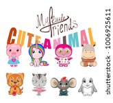 cute animals. my little friend. ... | Shutterstock .eps vector #1006925611