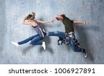 beautiful young couple in dance ... | Shutterstock . vector #1006927891