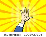 pop art raised hands up at... | Shutterstock .eps vector #1006937305
