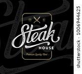 steak house emblem with crossed ... | Shutterstock .eps vector #1006944625