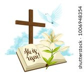 wooden cross with bible  lily... | Shutterstock .eps vector #1006948354