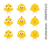 set of funny yellow chickens... | Shutterstock . vector #1006953121