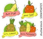 fruit stickers. banana  apple... | Shutterstock .eps vector #1006956925