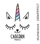 Stock vector cat unicorn textile graphic t shirt print vector illustration design 1006959517