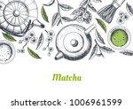 vector frame with tea. japanese ... | Shutterstock .eps vector #1006961599
