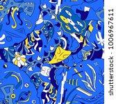 seamless mehndi vector pattern. ... | Shutterstock .eps vector #1006967611