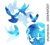 dove pigeon watertcolor... | Shutterstock . vector #1006969207