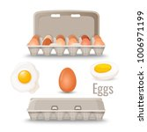 eggs in shell inside cardboard... | Shutterstock .eps vector #1006971199