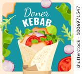 tasty doner kebab with chicken... | Shutterstock .eps vector #1006971547