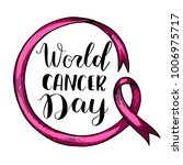 world cancer day pink ribbon.... | Shutterstock .eps vector #1006975717