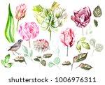 beautiful watercolor set with... | Shutterstock . vector #1006976311