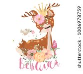 Stock vector cute romantic dreaming baby princess deer fawn with floral wreath crown bird and flowers 1006978759