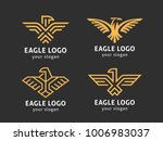 Stock vector set of vector logos abstract eagles in a linear style 1006983037