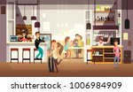 people eating lunch in cafe bar ... | Shutterstock .eps vector #1006984909