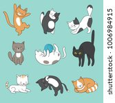 cool doodle abstract cats... | Shutterstock .eps vector #1006984915