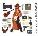 cartoon surveillance detectives ... | Shutterstock .eps vector #1006984954