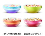 bowls of breakfast with... | Shutterstock .eps vector #1006984984