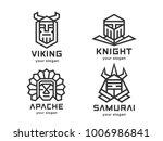 set of 4 vector logos. abstract ... | Shutterstock .eps vector #1006986841