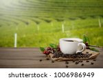 hot coffee cup and fresh coffee ... | Shutterstock . vector #1006986949