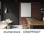 Stock photo brick and black loft bar interior with a concrete floor a bar with stools and wooden tables with 1006995607