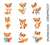 cute little foxes showing... | Shutterstock .eps vector #1006996237