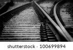 Dark Railway Closeup With...