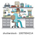 the scientist works in the... | Shutterstock .eps vector #1007004214