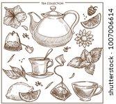 tea collection vector sketch...   Shutterstock .eps vector #1007006614
